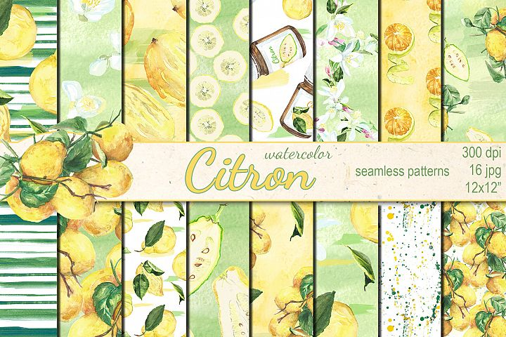 Watercolor Citron seamless patterns
