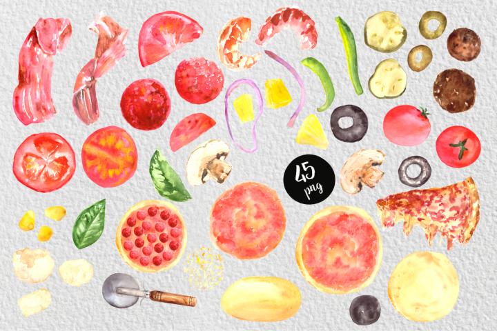 Watercolor Pizza Clip Art Set