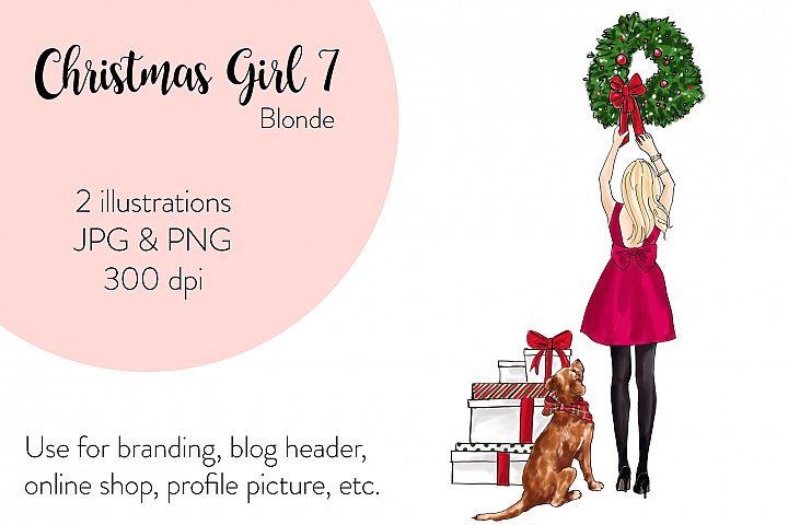 Fashion illustration - Christmas Girl 7 - Blonde