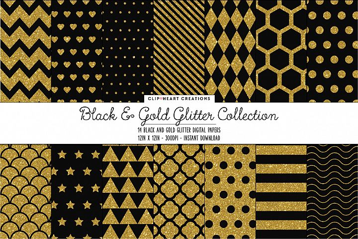 Black and Gold Glitter Pattern Papers