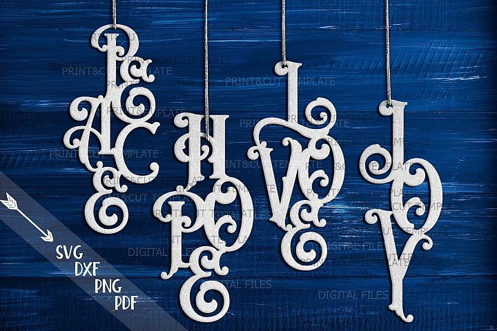 Hanging ornaments Peace Love Joy Hope svg paper laser cut