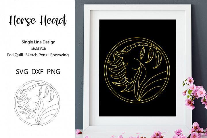 Horse Head Design for Foil Quill|Single Line Design