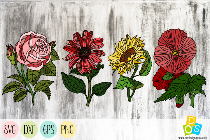 Flowers 2 SVG, DXF, EPS and PNG files