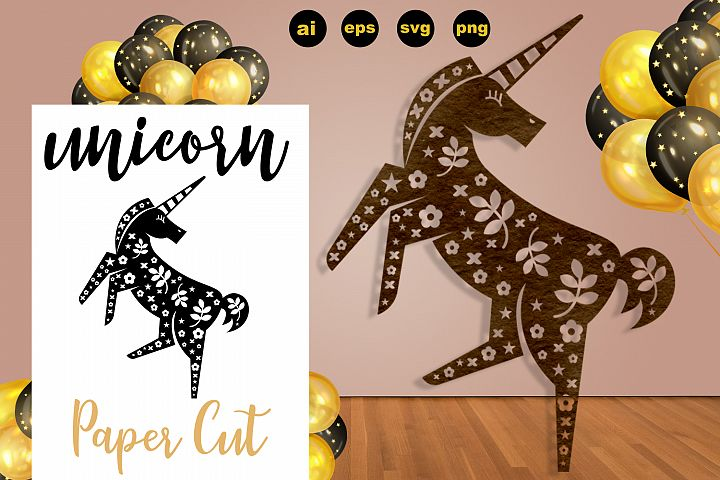 Abstract Floral Unicorn Paper Cut - SVG, AI, EPS