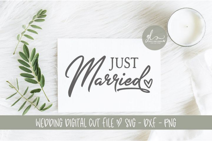 Just Married - Wedding Sign Cut File - SVG, DXF & PNG example 1