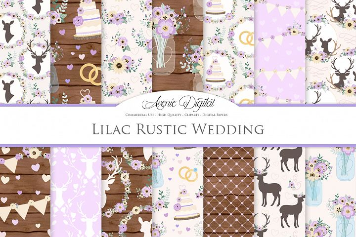 Purple Wedding Digital Paper - Lilac Rustic Wedding Deer Seamless Patterns