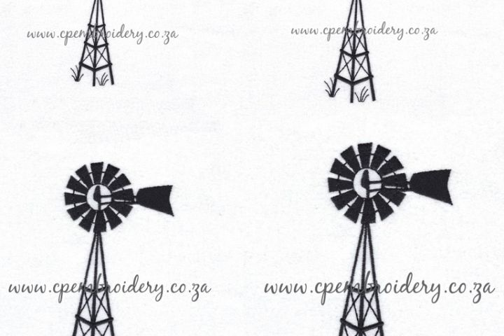 Simple Winged Farm Windmill Embroidery Design