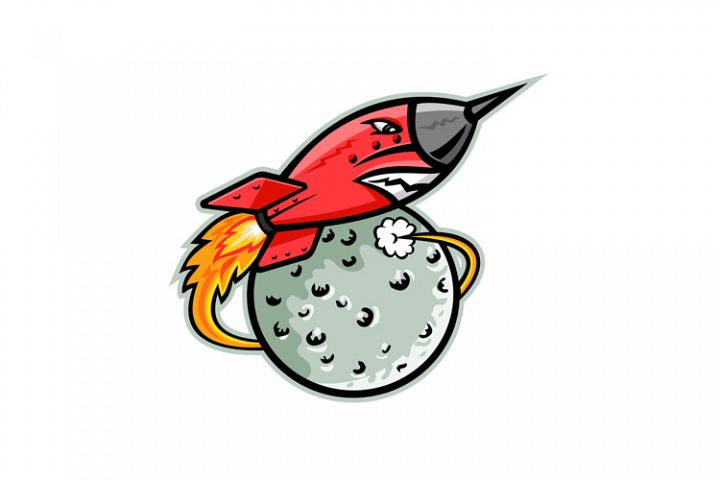 Rocket Launching Off Moon Mascot