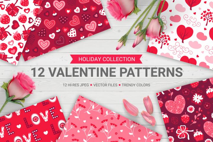 12 Valentine Seamless Patterns