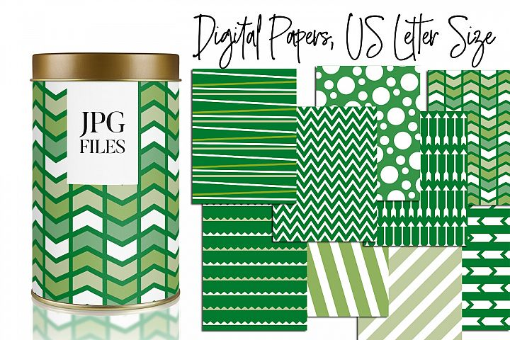 Green Patterns Background - Digital Papers