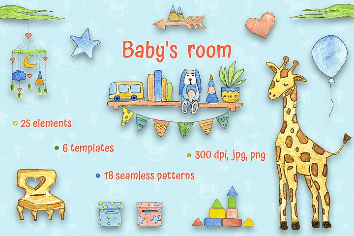 Babys Room watercolor set, templates and seamless patterns