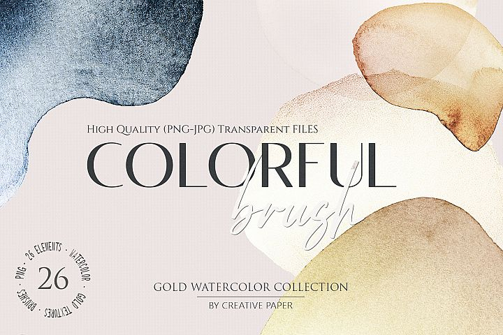 Gold Watercolor Brushes JPG - PNG 26 Elements