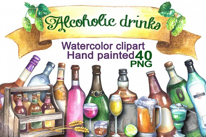 Alcoholic drinks cliparts