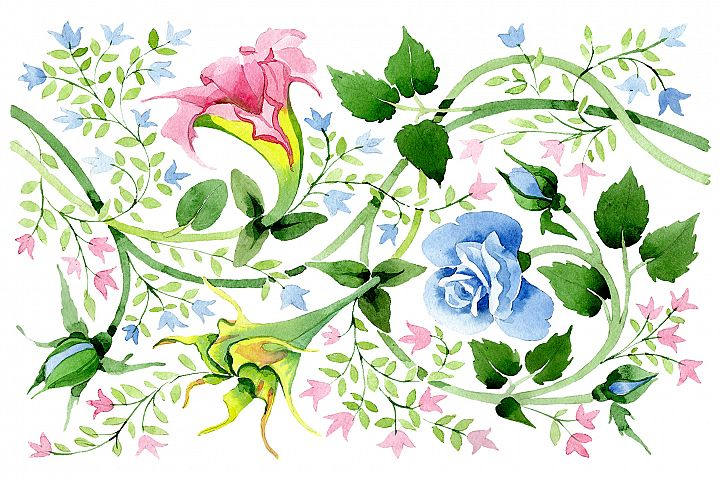 Floral watercolor pattern png