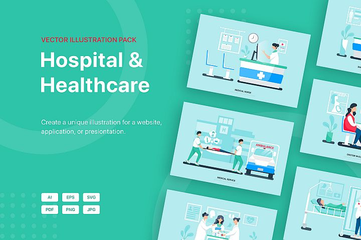 Hospital and Healthcare Vector Scenes - Part 29