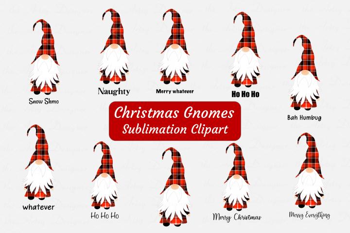 Christmas Gnomes Buffalo Plaid Sublimation ClipArt Bundle