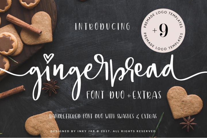 Gingerbread Font Duo 9 Premade Logo templates