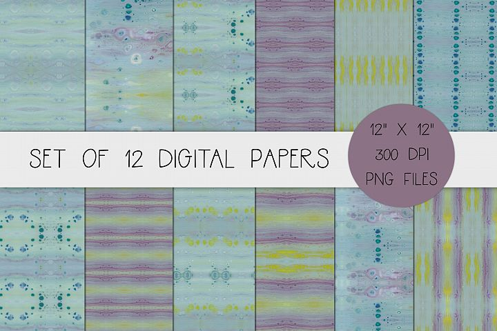 Blue, Purple, and Yellow Acrylic Paint Texture Digital Paper