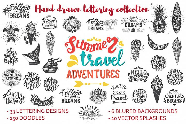 Handwritten travel & summer lettering