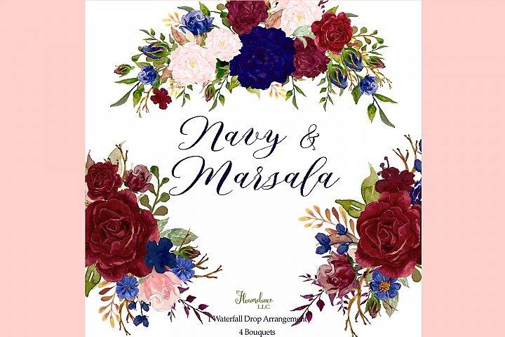 Navy and Marsala Watercolor Floral Bouquets