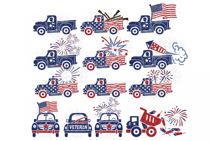 4th of July Truck SVG Bundle in SVG, DXF, PNG, EPS, JPEG