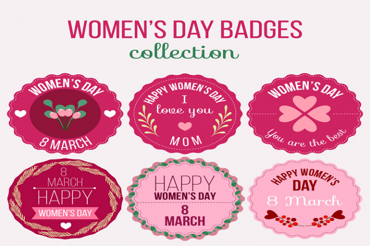 Pink Womens Day Badge Vector Material