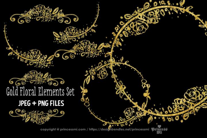 Gold Floral elements clipart set