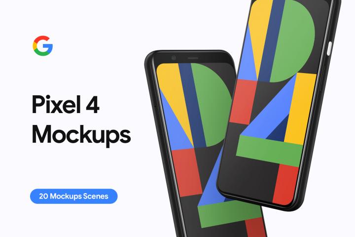 Google Pixel 4 - 20 Mockups Scenes - PSD