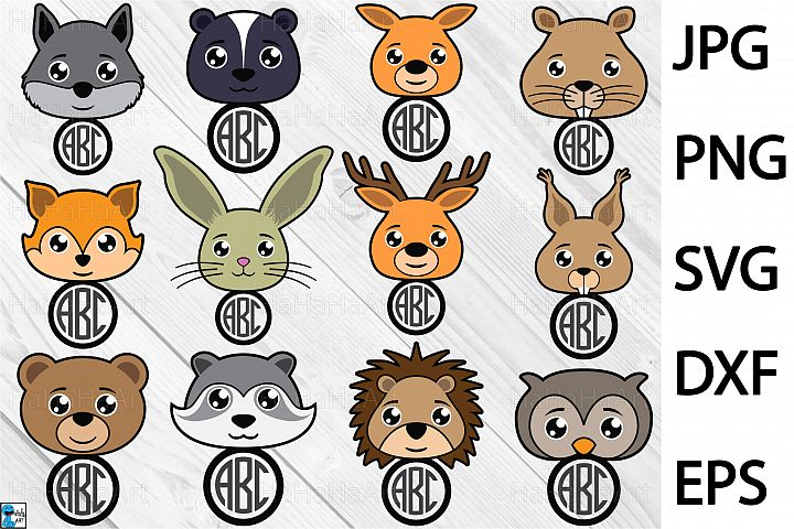 Forest Animals Monogram - Clip art / Cutting Files 395c