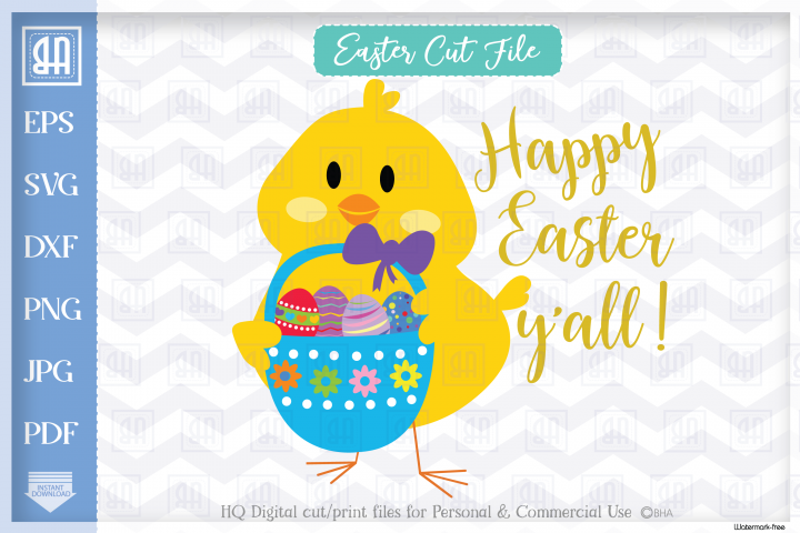 Happy Easter yall, Easter cuttable file, Easter chick