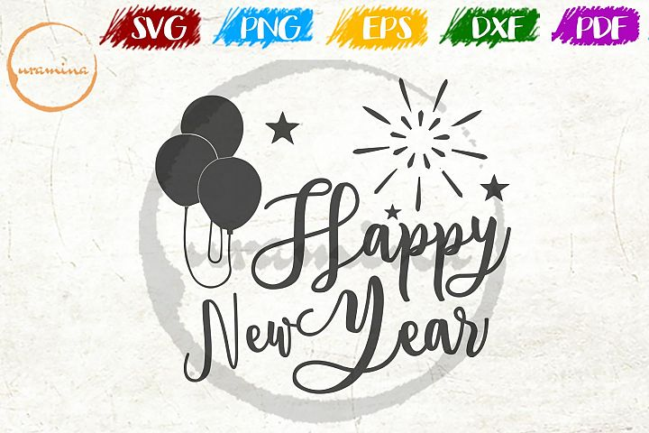 Happy New Year Christmas SVG PDF PNG