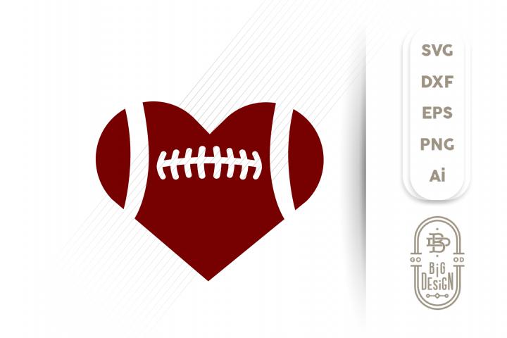 Football Heart SVG - Football Ball SVG , Football svg