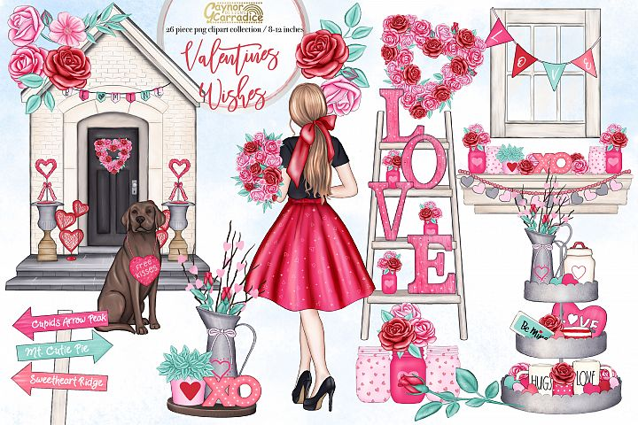 Valentines Wishes - Valentines day clipart collection