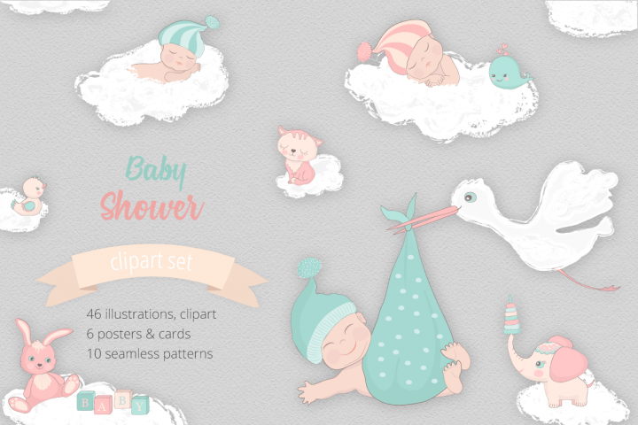 Baby Shower Illustration Set