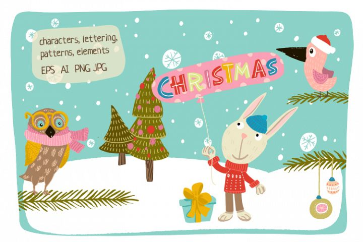 Christmas characters and lettering