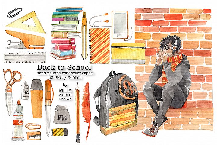 Back to School Watercolor Clip Art