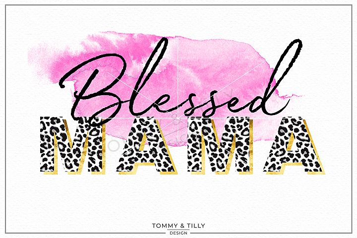 Blessed Mama Watercolour Swash - Sublimation PNG Clipart