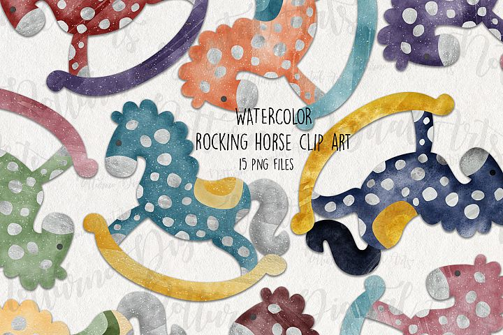 Watercolor Rocking Horse Clipart. Horse printable. Set of 15