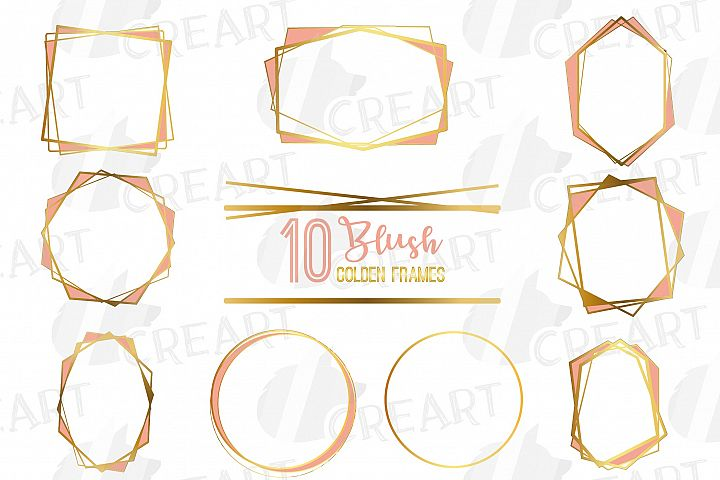 Elegant wedding geometric blush and golden lineal frames