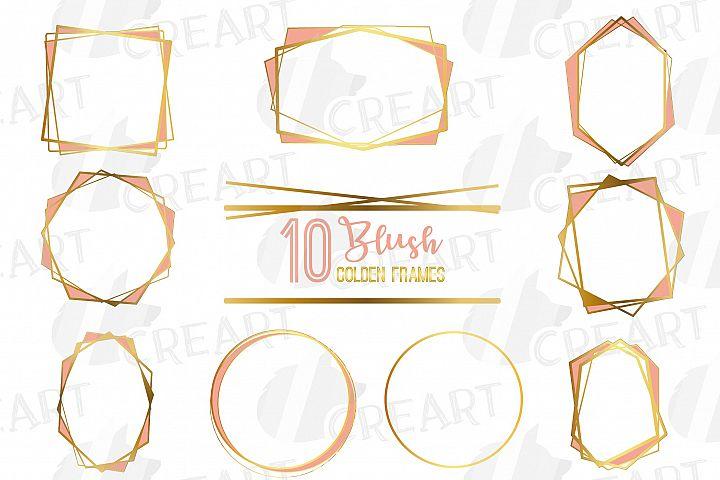 Elegant wedding geometric blush and golden lineal frames