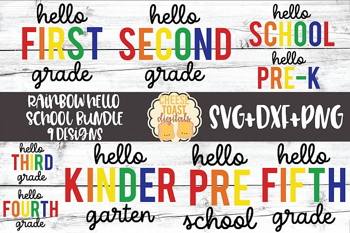 Rainbow Hello School Bundle - 9 Designs SVG PNG DXF Files
