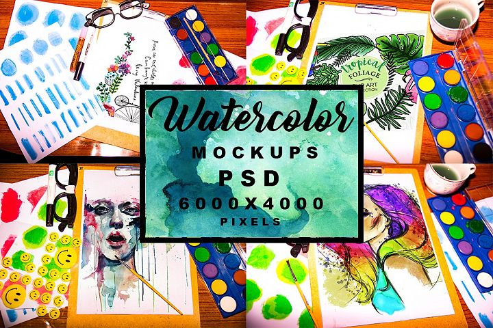 4 High Quality Watercolor Mockups PSD Pack