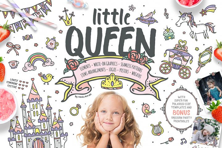 Little Queen - princess graphic pack - kids  and girls
