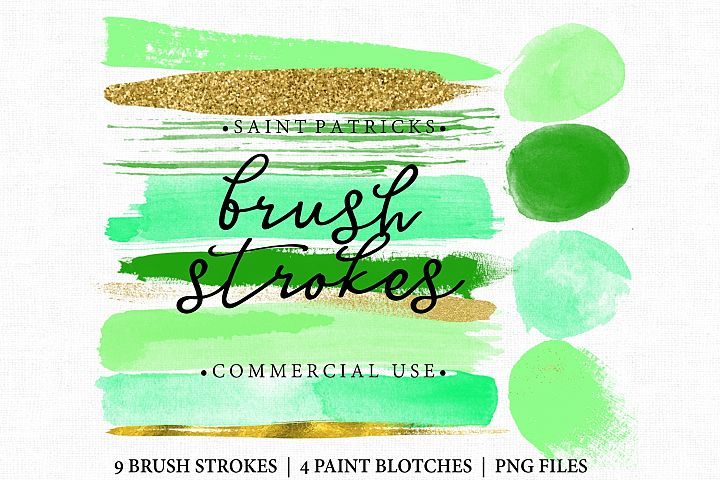 Green Brush Stroke Clip art. Saint Patricks day. Brush Strokes Green and gold. Digital brush strokes and blotches 13