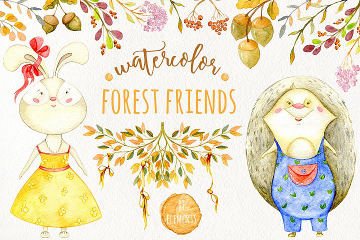 Watercolor forest friends collection