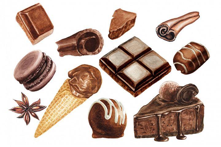 Watercolor chocolate delicious collection