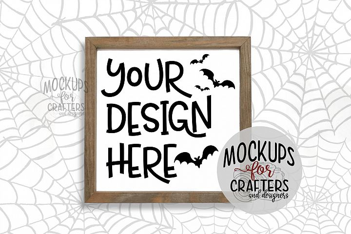 WOOD SIGN MOCK-UP Halloween theme