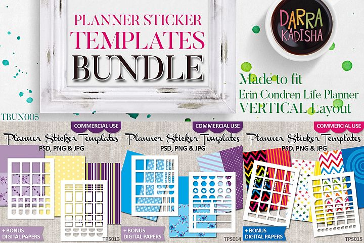 Erin Condren Planner Stickers Templates Bundle Vol. 5
