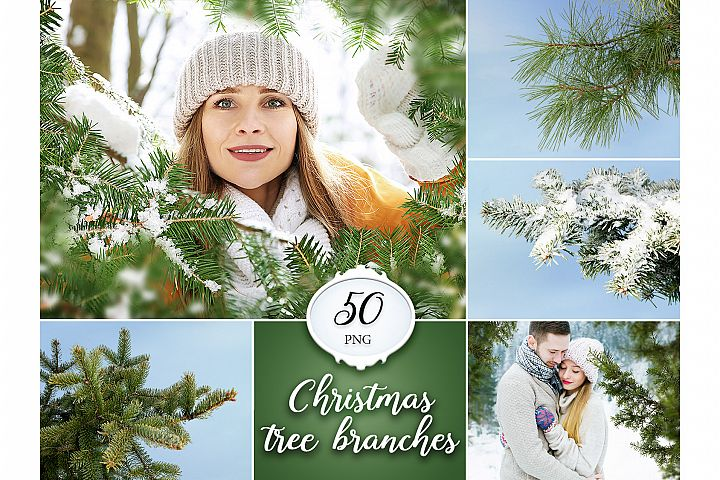 50 Christmas Tree Branch Overlays