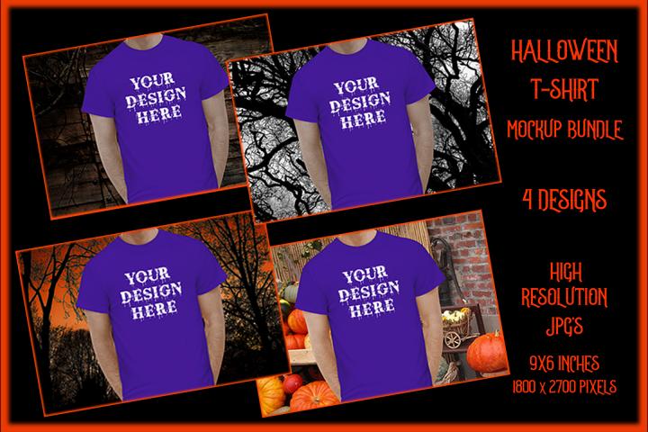 Halloween Men t-shirt Mockup Bundle, Purple Shirt Mock-Up